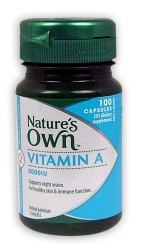 Natures Own Vitamin A 5000IU Capsules 100