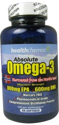 Absolute Omega 3  Norwegian Fish Oil Softgels 60