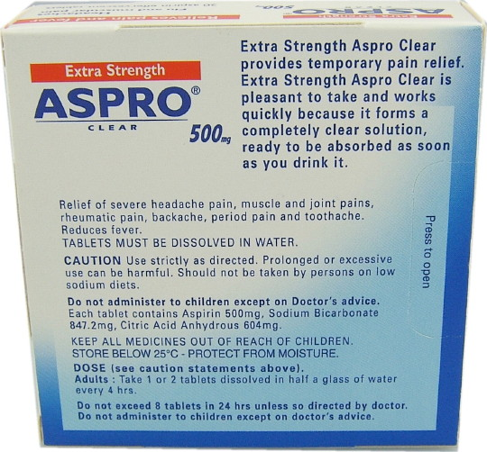 Aspro Clear Extra Strength 500mg (16)