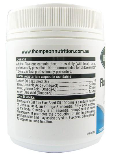 Thompsons Organic Flax Seed Oil 1000mg Capsules 200